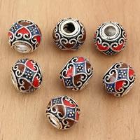 Bali Sterling Silber Perlen, Thailand, Trommel, verschiedene Größen vorhanden & Emaille, verkauft von Tasche