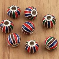 Bali Sterling Silber Perlen, Thailand, Trommel, Emaille, farbenfroh, 9x7.8mm, Bohrung:ca. 2.5mm, 5PCs/Tasche, verkauft von Tasche