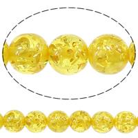 Harz Schmuckperlen, rund, gelb, 10mm, Bohrung:ca. 2mm, Länge:ca. 15 ZollInch, 10SträngeStrang/Menge, ca. 40/Strang, verkauft von Menge