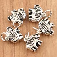 Bali Sterling Silber Anhänger, Thailand, Elephant, 12x15x4.50mm, Bohrung:ca. 3.5mm, 10PCs/Tasche, verkauft von Tasche