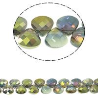 Klasse AA Kristallperlen, Kristall, Tropfen, bunte Farbe plattiert, verschiedene Größen vorhanden & facettierte & AA grade crystal, Chrysolite AB, Bohrung:ca. 1mm, verkauft per ca. 14 ZollInch Strang