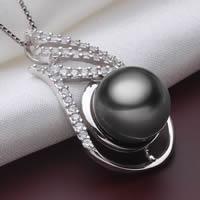 Tahiti Perlen Anhänger, mit 925 Sterling Silber, Tropfen, natürlich, Micro pave Zirkonia, schwarz, 10-11mm, Bohrung:ca. 2-5mm, verkauft von PC