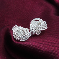 Messing Ohrstecker, versilbert, frei von Nickel, Blei & Kadmium, 10mm, verkauft von Paar