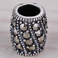 Messing Großes Loch Perlen, Trommel, antik silberfarben plattiert, mit Strass, frei von Blei & Kadmium, 9mm, Bohrung:ca. 4mm, 5PCs/Tasche, verkauft von Tasche