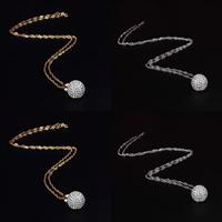 Messing Halskette, rund, plattiert, Singapur-Kette & mit kubischem Zirkonia, keine, frei von Nickel, Blei & Kadmium, 19x12mm, Länge:ca. 18 ZollInch, 5SträngeStrang/Menge, verkauft von Menge