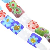Millefiori Glasperlen, Glas Millefiori, Quadrat, handgemacht, verschiedene Größen vorhanden, gemischte Farben, Bohrung:ca. 1mm, Länge:ca. 14 ZollInch, verkauft von Tasche