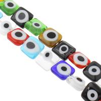 Böser Blick Lampwork Perlen, Quadrat, handgemacht, böser Blick- Muster & verschiedene Größen vorhanden, gemischte Farben, Bohrung:ca. 1mm, Länge:ca. 14.5 ZollInch, verkauft von Tasche