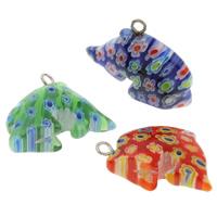 Millefiori Glas Anhänger Schmuck, Glas Millefiori, mit Eisen, Dolphin, handgemacht, gemischte Farben, 15x27x9mm, Bohrung:ca. 2mm, 10PCs/Tasche, verkauft von Tasche