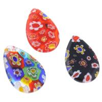 Millefiori Glas Anhänger Schmuck, Glas Millefiori, Tropfen, handgemacht, gemischte Farben, 14x23x3mm, Bohrung:ca. 1mm, 10PCs/Tasche, verkauft von Tasche
