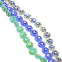Millefiori Glasperlen, Glas Millefiori, flache Runde, handgemacht, verschiedene Größen vorhanden, gemischte Farben, Bohrung:ca. 1mm, Länge:ca. 14.5 ZollInch, verkauft von Tasche