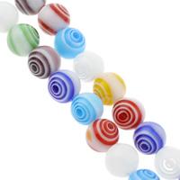 Millefiori Glasperlen, Glas Millefiori, rund, handgemacht, verschiedene Größen vorhanden, gemischte Farben, Bohrung:ca. 1mm, Länge:ca. 14.5 ZollInch, verkauft von Tasche