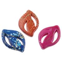 Filigrane Acrylperlen, Acryl, Blatt, Volltonfarbe, keine, 17x25x4mm, Bohrung:ca. 1mm, ca. 600PCs/Tasche, verkauft von Tasche