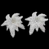 ABS Kunststoff Perlkappen, Blume, Nachahmung Perle, weiß, 46x56x12mm, Bohrung:ca. 2mm, 5PCs/Tasche, verkauft von Tasche