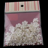 ABS Kunststoff Perlkappen, mit OPP, Blume, Nachahmung Perle, weiß, 17x6mm, 100x170mm, Bohrung:ca. 1mm, 50PCs/Tasche, verkauft von Tasche