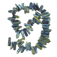 Natürliche Beschichtung Quarz Perlen, Klarer Quarz, Klumpen, bunte Farbe plattiert, 4-8x16-25x5-9mm, Bohrung:ca. 1mm, Länge:ca. 14 ZollInch, 2SträngeStrang/Menge, ca. 60PCs/Strang, verkauft von Menge