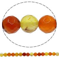 Zwei Ton Achat Perlen, Zweifarbiger Achat, rund, facettierte, 8mm, Bohrung:ca. 1mm, Länge:ca. 15 ZollInch, 10SträngeStrang/Menge, ca. 48PCs/Strang, verkauft von Menge