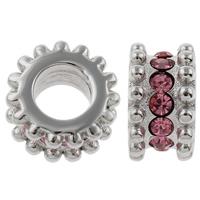 Edelstahl European Perlen, Rondell, ohne troll & mit Strass, Rosa, 6x10mm, Bohrung:ca. 5mm, verkauft von PC