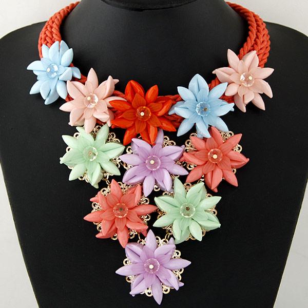 Mode Statement Halskette, Zinklegierung, mit Gewachste Hanfschnur & Acryl, Blume, goldfarben plattiert, frei von Blei & Kadmium, 400mm, verkauft per 15.75 ZollInch Strang