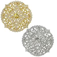Messing Perlen Einstellung, flache Runde, plattiert, Mehrloch- & Micro pave Zirkonia, keine, frei von Nickel, Blei & Kadmium, 39x39x6.5mm, 0.8mm, Bohrung:ca. 0.8mm, 4PCs/Menge, verkauft von Menge