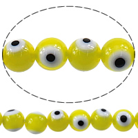 Böser Blick Lampwork Perlen, rund, böser Blick- Muster, gelb, 10mm, Bohrung:ca. 1mm, Länge:ca. 15.5 ZollInch, 10SträngeStrang/Menge, ca. 40PCs/Strang, verkauft von Menge