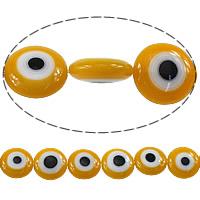 Böser Blick Lampwork Perlen, flache Runde, böser Blick- Muster, Orange, 12x12x5mm, Bohrung:ca. 1mm, Länge:ca. 16 ZollInch, 10SträngeStrang/Menge, ca. 45PCs/Strang, verkauft von Menge