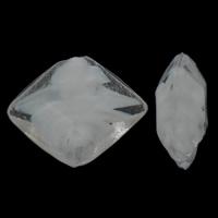 Innerer Twist Lampwork Perlen, Rhombus, handgemacht, innen Twist, weiß, 18x22x8mm, Bohrung:ca. 2mm, 100PCs/Tasche, verkauft von Tasche