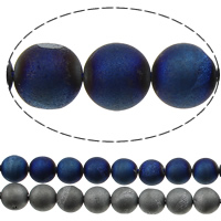 Natürliche Eis Quarz Achat Perlen, Eisquarz Achat, rund, plattiert, verschiedene Größen vorhanden, keine, Bohrung:ca. 1.2mm, Länge:ca. 15 ZollInch, verkauft von Menge