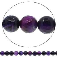 Natürliche violette Achat Perlen, Violetter Achat, rund, facettierte, 8mm, Bohrung:ca. 1mm, Länge:ca. 15 ZollInch, 10SträngeStrang/Menge, ca. 47PCs/Strang, verkauft von Menge