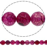 Natürliche Crackle Achat Perlen, Geknister Achat, rund, verschiedene Größen vorhanden & facettierte, hochrot, Bohrung:ca. 1mm, Länge:ca. 15 ZollInch, verkauft von Menge