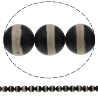 Zwei Ton Achat Perlen, Zweifarbiger Achat, rund, satiniert, 12mm, Bohrung:ca. 1mm, Länge:ca. 15 ZollInch, 10SträngeStrang/Menge, ca. 32PCs/Strang, verkauft von Menge