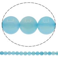 Natürliche blaue Achat Perlen, Blauer Achat, rund, verschiedene Größen vorhanden, Bohrung:ca. 1mm, Länge:ca. 15 ZollInch, verkauft von Menge