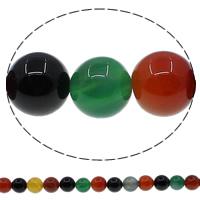 Natürliche Regenbogen Achat Perlen, rund, verschiedene Größen vorhanden, Bohrung:ca. 1mm, Länge:ca. 15 ZollInch, verkauft von Menge