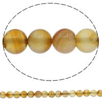 Natürliche gelbe Achat Perlen, Gelber Achat, rund, verschiedene Größen vorhanden, Bohrung:ca. 1mm, Länge:ca. 15 ZollInch, verkauft von Menge