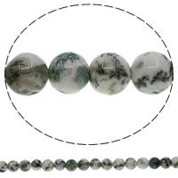 Natürliche Moos Achat Perlen, rund, 8mm, Bohrung:ca. 1mm, Länge:ca. 15 ZollInch, 10SträngeStrang/Menge, ca. 48PCs/Strang, verkauft von Menge