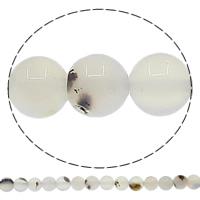 Natürliche weiße Achat Perlen, Weißer Achat, rund, verschiedene Größen vorhanden, Bohrung:ca. 1mm, Länge:ca. 15 ZollInch, verkauft von Menge