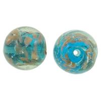 Goldsand & Silberfolie Lampwork Perlen, rund, handgemacht, blau, 15mm, Bohrung:ca. 2mm, 100PCs/Tasche, verkauft von Tasche