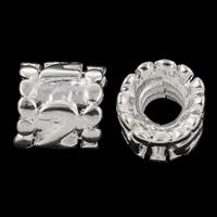 Zink Legierung Europa Perlen, Zinklegierung, Zylinder, silberfarben plattiert, mit einem Muster von Nummer & mit troll, frei von Nickel, Blei & Kadmium, 9x9mm, Bohrung:ca. 4mm, 10PCs/Tasche, verkauft von Tasche