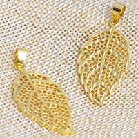 24 k-Gold überzogene hängende Farbe, Messing, Blatt, 24 K vergoldet, hohl, frei von Nickel, Blei & Kadmium, 20x43mm, Bohrung:ca. 2x4.5mm, 20PCs/Menge, verkauft von Menge
