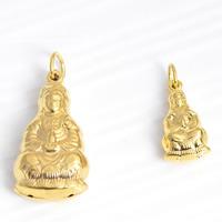 24 k-Gold überzogene hängende Farbe, Messing, Kuan Yin, 24 K vergoldet, buddhistischer Schmuck & verschiedene Größen vorhanden, frei von Nickel, Blei & Kadmium, Bohrung:ca. 3mm, 20PCs/Menge, verkauft von Menge