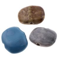 Glasierte Porzellan Perlen, Rechteck, glaciert, gemischte Farben, 22-28mm, 28-29mm, Bohrung:ca. 3mm, 100PCs/Tasche, verkauft von Tasche