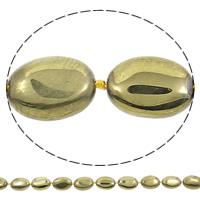 Vergoldete Achat Perlen, oval, goldfarben plattiert, 15x20x7mm, Bohrung:ca. 1mm, Länge:ca. 15.5 ZollInch, 5SträngeStrang/Tasche, ca. 18PCs/Strang, verkauft von Tasche