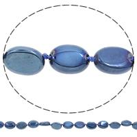Vergoldete Achat Perlen, flachoval, plattiert, blau, 12x15x5mm, Bohrung:ca. 1mm, Länge:ca. 17 ZollInch, 5SträngeStrang/Tasche, ca. 24PCs/Strang, verkauft von Tasche