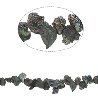Vergoldete Achat Perlen, Klumpen, plattiert, 8x9x10mm-35x16x17mm, Bohrung:ca. 1mm, ca. 40PCs/Strang, verkauft per ca. 16.5 ZollInch Strang