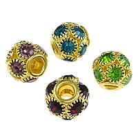 Strass Messing Perlen, Trommel, plattiert, mit Strass & großes Loch & hohl, keine, frei von Nickel, Blei & Kadmium, 11x12mm, Bohrung:ca. 4mm, 50PCs/Menge, verkauft von Menge