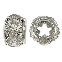 Strass Messing Perlen, Rondell, Platinfarbe platiniert, mit Strass & großes Loch, frei von Nickel, Blei & Kadmium, 9x13mm, Bohrung:ca. 7.5mm, 30PCs/Menge, verkauft von Menge