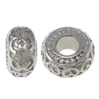 Edelstahl European Perlen, Rondell, ohne troll, originale Farbe, 8x14mm, Bohrung:ca. 5.7mm, 30PCs/Tasche, verkauft von Tasche