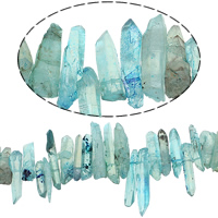 Natürliche gefärbten Quarz Perlen, Klarer Quarz, Klumpen, blau, 9-13x35-50mm, Bohrung:ca. 1mm, ca. 71PCs/Strang, verkauft per ca. 16 ZollInch Strang