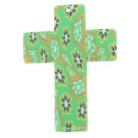 Polymer Ton Anhänger, Kreuz, handgemacht, mit Blumenmuster, grün, 44x29x4mm, Bohrung:ca. 1mm, 100PCs/Tasche, verkauft von Tasche