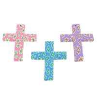 Polymer Ton Anhänger, Kreuz, handgemacht, mit Blumenmuster, gemischte Farben, 45x60x4mm, Bohrung:ca. 1.5mm, 100PCs/Tasche, verkauft von Tasche