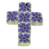 Polymer Ton Anhänger, Kreuz, handgemacht, mit Blumenmuster, 26x33x5mm, Bohrung:ca. 1mm, 100PCs/Tasche, verkauft von Tasche
